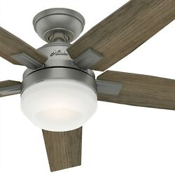 Hunter Fan 52 inch Contemporary Matte Silver Ceiling Fan with Light and Remote $83.85