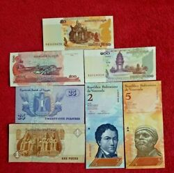 Uncirculated Lot of 7  Different Foreign PAPER MONEY BANKNOTES WORLD CURRENCY $3.49