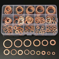 150PC Solid Copper Gasket Washers Sump Plug Washer Set Kit 15 Sizes with Box CS $13.59