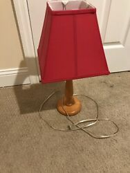 Red Lamp Shade With Light Brown Base $24.00