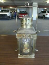 OLD BRASS SHIPS LANTERN OIL LAMP MARKED WITH AN RV AND ANCHOR $125.00