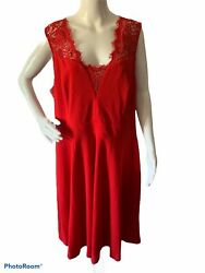 Soprano Womens Plus 2X Sleeveless Red Lace Trim Fit & Flare Dress Career New $23.39