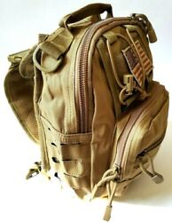 Small Outdoor Tactical Khaki Military Style Back Sling Shoulder Bag USA Flag NEW $23.99