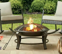 Owen Park 28-Inch Round Wood Burning Fire Pit Mesh Guard BackyardPatio