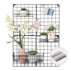 Multifunction Metal Mesh Grid Panel Wire Wall for Photo Hanging Display Black $27.90