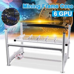 Aluminum 6 GPU Open Air Case Mining Frame Rig Drawer Crypto Currency Ethereum $36.64