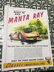 VINTAGE CLASSIC INDUSTRIES MANTA RAY SLOT CAR  POSTER PAGE VERY COOL COLOR AD 4U $5.99
