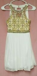 Poppies and Roses Formal Girls dress White Gold beaded size 10G $22.00