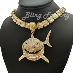 6ix9ine Large Shark Pendant amp; 16quot; 18quot; Full Iced Choker Bust Down Chain Necklace $28.49