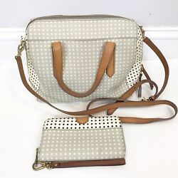 FOSSIL Original SYDNEY SATCHEL Handbag & WALLET Gray Polka Dot CROSSBODY Purse $59.95