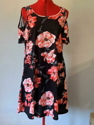 NWOT Floral Jersey Knit Cold Shoulder Sun Beach Vacation Dress w Pockets Sz L $27.50