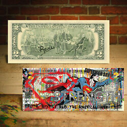 SUPERMAN Pop Art Strength Baller Diamonds U.S. $2 Bill - HAND-SIGNED by Rency