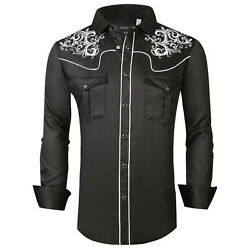 Mens Western Rodeo Cowboy Shirt Black White Embroidery Snap Pockets General 2 $29.95