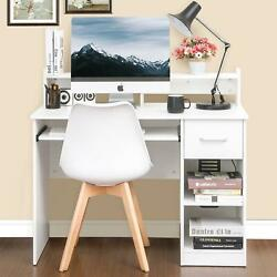Wood PC Writing Desk Home Office Computer Desk with Drawers and Book Shelf $115.90