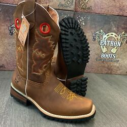 MEN#x27;S BROWN BOOTS WESTERN COWBOY SQUARE TOE CRAZY LEATHER TRACTOR SOLE $64.99