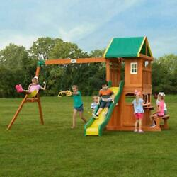 Cedar Wood Swing Set Outdoor Kids Play Center Club Hous & Slide Yard Playground $1,020.71
