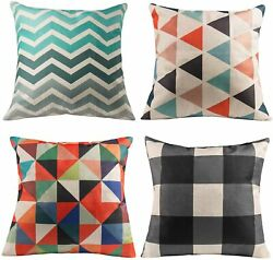 Deppon Set of 4 Geometric Throw Pillow Covers Linen Cotton Cushion Case for Home $19.99