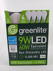 Pack Of 4 Greenlite LED Bulbs 9W 60W Equivalent Light 3000K A19 $6.99