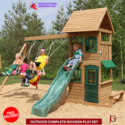 Outdoor Complete Wooden Play Big Playground Swing Set Playhouse For Play Kids $1,399.99