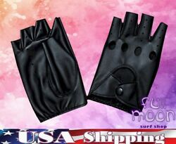 New Fingerless Circle Biker Punk Goth Driving Womens Faux Leather Gloves $7.95