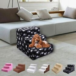 Pet Stairs 3 Non slip Steps Dog Cat Puppy Ladder for High Bed w Washable Cover $22.99
