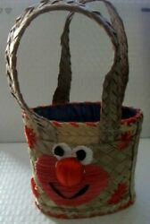 Elmo Novelty Toddler Girls Small Straw Tote Purse Vacation Fun Pre Owned Clean $3.99