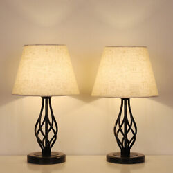 Traditional Table Lamps Set of 2 Dark Bronze Metal Drum Shade for Living Room $43.90