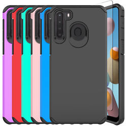 For Samsung Galaxy A21 Phone Case Shockproof Armor CoverGlass Screen Protector $6.95