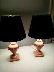 Vintage Pair Lamps Pink Floral Ceramic Table Dresser Italy Nove Numbered $74.00