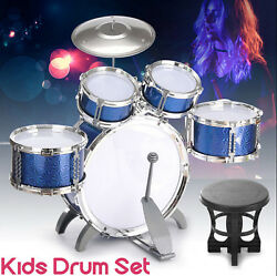 Full Kids Drum Set  ~ Cymbals Stands Throne Blue Silver Boys Girls Drum  $44.99
