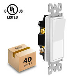 40 Pack Wall ON OFF Rocker Paddle Light Switch Replacement Single Pole White UL $72.98