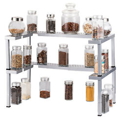 2 PCS Spice Rack Expandable Stackable Cabinet & Pantry Organizer -Silver $19.24