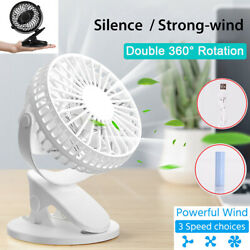 4 inch Electric USB Rechargeable Battery Clip On Desk Portable Mini Cooling Fan  $14.89