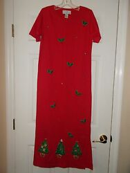 Red Embroidered Christmas Dress Sz S NWT NEW Lisa International $15.99