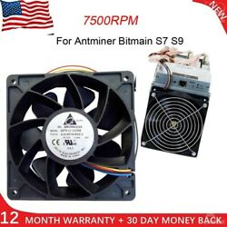 7500RPM Cooling Fan Replacement 4-pin Connector For Sntminer Bitmain S7 S9 Black $20.11