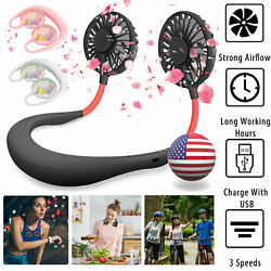 Portable Dual Cooling Mini Sport Fan USB Rechargeable Neckband Lazy Neck Hanging $11.95