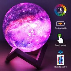 Moon Lamp Rechargeable LED Night Lunar Light 3D Printing Touch Desk Home Decor $16.99