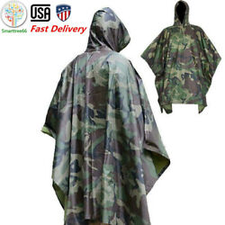 US Military Woodland Ripstop Wet Weather Raincoat Poncho Camping Hiking Camo $31.99