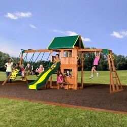 Swing Set Outdoor Shade Slide Occupy 9 Kids Climbing Backyard Playground Playset $1,199.99