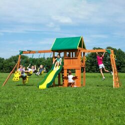 Backyard Swing Set Weston Cedar Wooden Slide Outdoor Playground Playset Kids $1,249.00