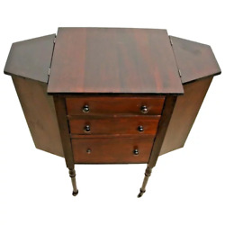 Rare Antique Table Sewing and Knitting Organizer caster wheels solid Mahogany $595.00