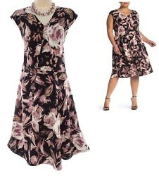 18W 2X SEXY Womens FLORAL FIT amp; FLARE KNIT DRESS Summer Wedding Party PLUS SIZE $49.99