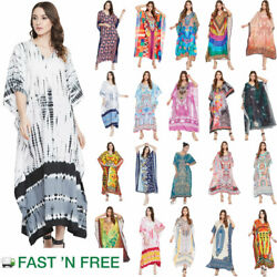 Women Boho Kaftan Kimono Maxi Dress Beach Holiday Plus Size Loose Long Sundress $13.99