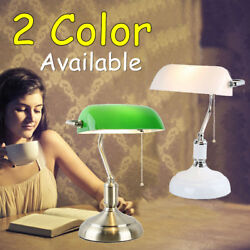 Traditional Antique Brass White&Green Banker Table Office Desk Lamp Lounge  $77.11