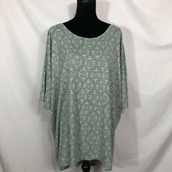 LuLaRoe Irma NWT Womens Size 3XL Green Floral Short Sleeve High-Low Shirt Top $14.40