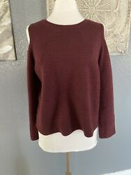 GNW women sweater cold shoulder ribbed maroon Sleeve Knitted Sz medium $19.99