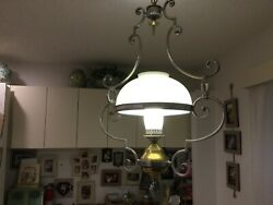 Antique Chandelier Pewter And Brass $1250.00