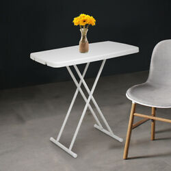 Square Plastic Folding Card Table Lifting Desk 30x20 in Height Adjustable White $38.99