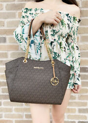Michael Kors Jet Set Travel Chain Shoulder Tote Bag Brown MK Signature $112.80