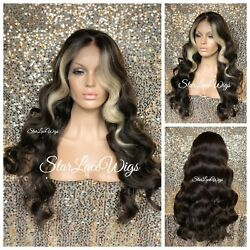 Long Lace Front Wig Brown Blonde Highlights Body Wave 13x6 Parting Baby Hair $72.06